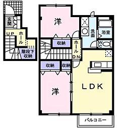愛知県田原市保美町沢の賃貸アパートの間取り