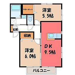 栃木県下野市花の木2丁目の賃貸アパートの間取り