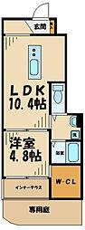 JR横浜線 橋本駅 徒歩15分の賃貸アパート 1階1LDKの間取り