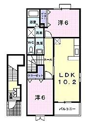 新潟県胎内市柴橋の賃貸アパートの間取り