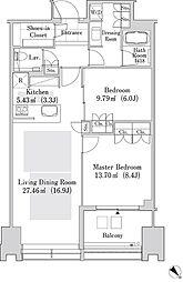ラ・トゥール新宿ガーデン 31階2LDKの間取り