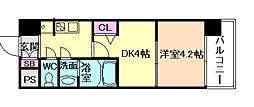 Osaka Metro長堀鶴見緑地線 京橋駅 徒歩2分の賃貸マンション 7階1DKの間取り