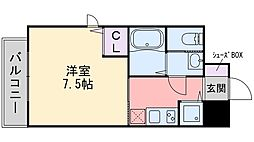 ワイズコート別府駅前 12階1Kの間取り