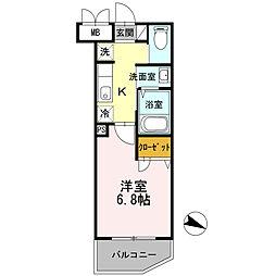 京急本線 子安駅 徒歩6分の賃貸マンション 4階1Kの間取り