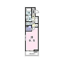 多摩都市モノレール 甲州街道駅 徒歩1分の賃貸アパート 1階1Kの間取り