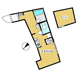 パークテラス仙川 3階1Kの間取り