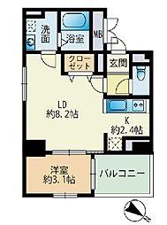 福岡市地下鉄七隈線 薬院大通駅 徒歩3分の賃貸マンション 8階1LDKの間取り