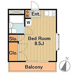 伊藤ハイツ 3階ワンルームの間取り