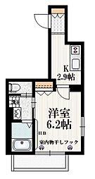 JR山手線 大塚駅 徒歩10分の賃貸マンション 1階1Kの間取り