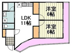 JR中央線 国立駅 バス10分 谷保下車 徒歩7分の賃貸マンション 3階2LDKの間取り