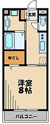 西武新宿線 狭山市駅 徒歩11分の賃貸アパート 3階1Kの間取り