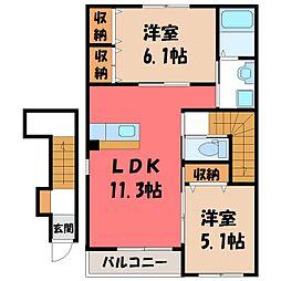茨城県筑西市直井の賃貸アパートの間取り
