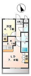 埼玉県草加市長栄1の賃貸アパートの間取り