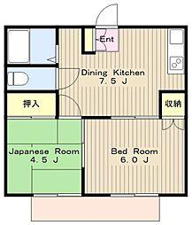 神奈川県横浜市瀬谷区阿久和西2丁目の賃貸アパートの間取り