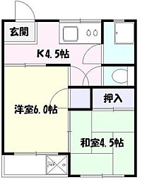 溝端マンション[2階]の間取り