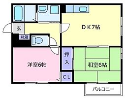 シャレル松原[2階]の間取り
