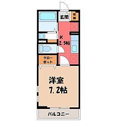 栃木県宇都宮市雀宮町の賃貸アパートの間取り