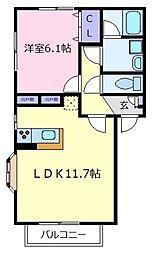 大阪府松原市天美我堂2丁目の賃貸アパートの間取り