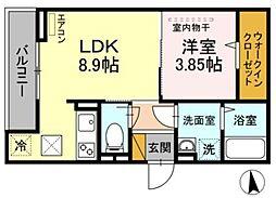 JR総武線 千葉駅 徒歩11分の賃貸アパート 1階1LDKの間取り