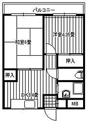 パラシオ寺塚[301号室]の間取り