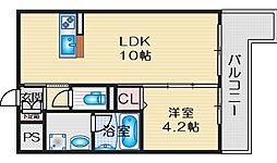 エルパシオン吹田泉町 3階1LDKの間取り