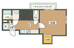JR京葉線 潮見駅 徒歩6分の賃貸マンション 2階1Kの間取り