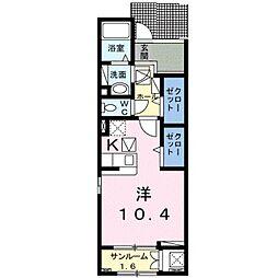 エスポワールヒロ― A 1階ワンルームの間取り