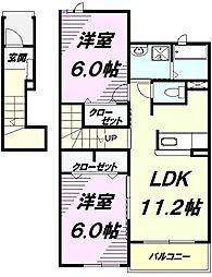 JR五日市線 武蔵引田駅 徒歩6分の賃貸アパート 2階2LDKの間取り
