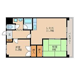 滋賀県東近江市五個荘北町屋町の賃貸マンションの間取り