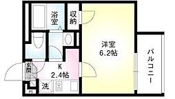 Saletta戸越公園 3階1Kの間取り