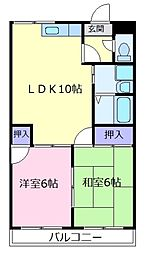 大阪府松原市天美西5丁目の賃貸マンションの間取り