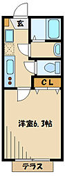 小田急小田原線 狛江駅 徒歩13分の賃貸アパート 1階1Kの間取り