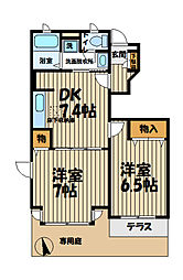 シャトーレ湘南III[1階]の間取り