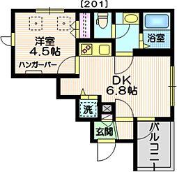 (仮称)三田2丁目メゾン 2階1DKの間取り