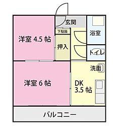 愛知県岡崎市六名新町の賃貸アパートの間取り