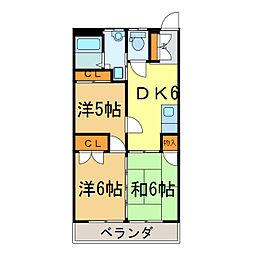 ハイツSK[3階]の間取り