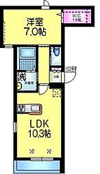 仮称)平田3丁目2メゾン 1階1LDKの間取り