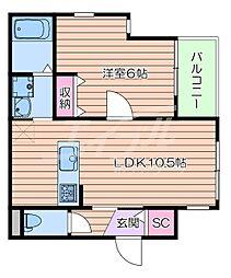 JR東海道・山陽本線 岸辺駅 徒歩5分の賃貸マンション 3階1LDKの間取り