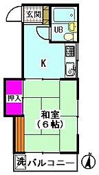 ハイツ梅沢[203号室]の間取り