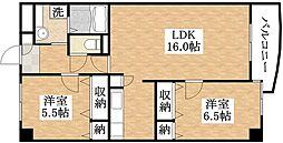 大阪府大阪市平野区平野東3丁目の賃貸マンションの間取り