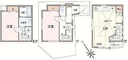 東五反田戸建 2階2LDKの間取り