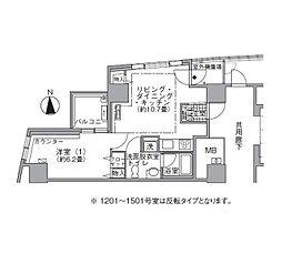 JR山手線 浜松町駅 徒歩3分の賃貸マンション 15階1LDKの間取り