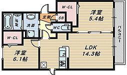 ルーチェ中百舌鳥B棟[1階]の間取り