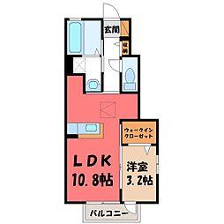 栃木県宇都宮市ゆいの杜5丁目の賃貸アパートの間取り