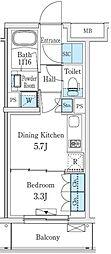 東急東横線 学芸大学駅 徒歩8分の賃貸マンション 2階1DKの間取り
