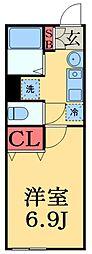 京成本線 京成津田沼駅 徒歩12分の賃貸アパート 1階1Kの間取り