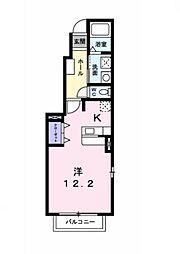 JR東海道本線 西岡崎駅 徒歩8分の賃貸アパート 1階ワンルームの間取り