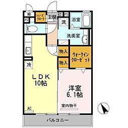 愛知県岡崎市美合町字上長根の賃貸アパートの間取り