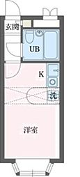 JR高崎線 北本駅 徒歩6分の賃貸アパート 2階ワンルームの間取り