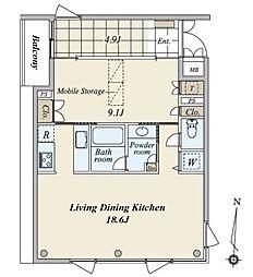 月光町アパートメント[4階]の間取り